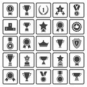 stock photo of prize  - Big set of  black vector award success and victory icons with trophies - JPG