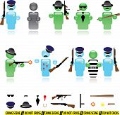 pic of gun shot wound  - Set of icons representing mafia and police wars - JPG