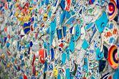 foto of tile  - Mosaic of broken tiles wall in Istanbul wall made of colorful mosaic broken tiles Turkey Turkey  - JPG