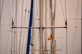 stock photo of mast  - Silhouette Masts of Sail Yacht in a Marine - JPG
