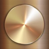 picture of precious stone  - Vector precious metal round gold plate with lined background - JPG