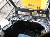 picture of tram  - the cockpit of a vintage tram still functioning perfectly restored - JPG