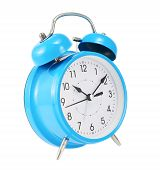 foto of analog clock  - Blue alarm clock isolated over the white background - JPG