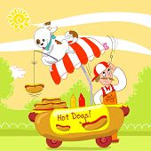 picture of working-dogs  - Dog fishing an hot dog from a cart in the street - JPG