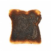 picture of backround  - Burnt toast bread slice isolated over the white backround - JPG