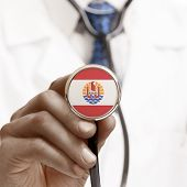 image of french polynesia  - Stethoscope with national flag conceptual series  - JPG