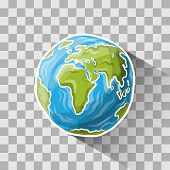foto of globe  - Doodle globe on transparent - JPG