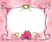 foto of wedding invitation  - Image and illustration composition of pink roses on floral background with ribbons for wedding invitation border - JPG