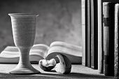 stock photo of chalice  - stilllife with chalice of wine and bible - JPG