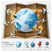 image of passport template  - Travel And Journey World Map With Point Mark Airplane Route Diagram Infographic Background Design Template - JPG