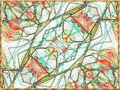 picture of motif  - Digital art collage technique unique ornate abstract motif modern pattern in orange green and white colors - JPG