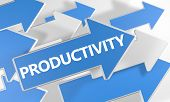 picture of productivity  - Productivity 3d render concept with blue and white arrows flying over a white background - JPG