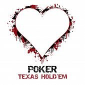 image of poker hand  - Poker texas holdem vector illustration with grunge effect - JPG