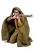 foto of sniper  - Soviet sniper with his rifle on the white background - JPG