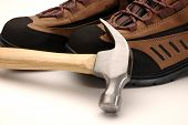 picture of workplace safety  - Work tools and safety shoes with steel toes - JPG