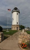 stock photo of lighthouse  - This image features the Fond du Lac Lighthouse in Wisconsin - JPG