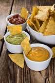 picture of dipping  - Three different nacho dips  - JPG
