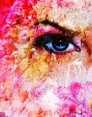 picture of pink eyes  - blue women eyes beaming up enchanting from floweron pink abstract background - JPG