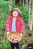 picture of edible  - cute child girl gathering wild edible mushrooms in the forest - JPG