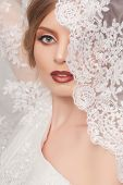 stock photo of beauty salon interior  - beautiful and fashion bride with glamour makeup and hairstyle in luxury interior - JPG