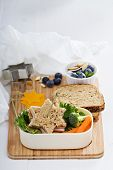 stock photo of lunch box  - Lunch box with sandwich - JPG