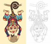 picture of creatures  - coloring book page for adults with unusual fantastic creature in decorative Ukrainian karakoko style - JPG