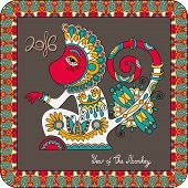 image of ape  - original design for new year celebration with decorative ape and inscription  - JPG