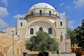 picture of synagogue  - White facade famous restored Hurva Synagogue - JPG