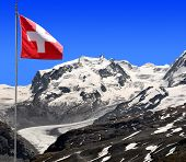 picture of rosa  - Mount Monte Rosa with Swiss flag  - JPG