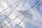 picture of mast  - Sailing ship mast details in the cloudy blue sky - JPG