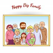 stock photo of grandparent child  - Happy family tree generations framed portrait poster with grandparents children baby pets and toys abstract vector illustration - JPG