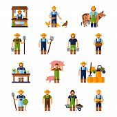pic of milkman  - Farmers and gardeners flat agriculture icons set isolated vector illustration - JPG
