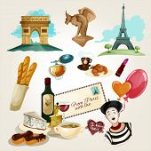 picture of baguette  - Paris touristic set with cartoon baguette wine croissant wine bottle icons isolated vector illustration - JPG