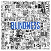 foto of blind man  - Close up BLINDNESS Text at the Center of Word Tag Cloud on White Background - JPG