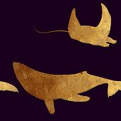 pic of scat  - Creative design with golden silhouettes of a whale and dolphin - JPG