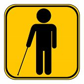 picture of blind man  - Blind disabled button on white background - JPG