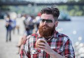 picture of moustache  - Handsome big moustache hipster man in the city - JPG
