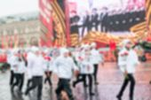 foto of parade  - Parade on Red Square in Moscow blur background with bokeh effect - JPG