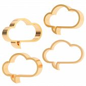 image of foreshortening  - Cloud shaped bronze metal glossy text bubbles isolated over the white background - JPG
