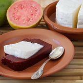 pic of juliet  - Brazilian dessert Romeo and Juliet goiabada and Minas cheese with fresh goiaba on wooden table - JPG