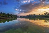 picture of buddhist  - River near ancient buddhist khmer temple in Angkor Wat complex - JPG