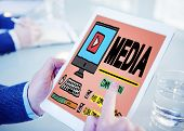 stock photo of mass media  - Media Devices Mess Communication Multimedia Concept - JPG