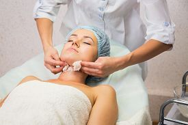 picture of cosmetology  - Girl with a beautician at spa salon - JPG