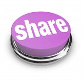 image of politeness  - A purple button with the word Share on it symbolizing sharing gifting and generosity - JPG