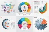 Set Of Six Infographic 6 Options, Steps, Parts, Processes Templates. Business Concept For Graphs, Ch poster