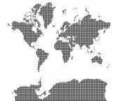 Map Of The World Grayscale Mozaic poster