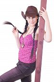image of bare midriff  - lovely young girl the cowboy with a ladder on a white background close up - JPG