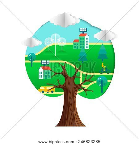 Tree With Green City Paper