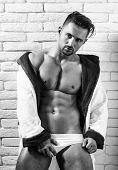 Mens Underwear. Handsome Muscular Macho In Bathrobe poster