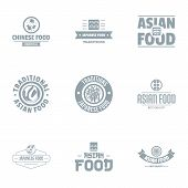 Asian Tasty Logo Set. Simple Set Of 9 Asian Tasty Vector Logo For Web Isolated On White Background poster